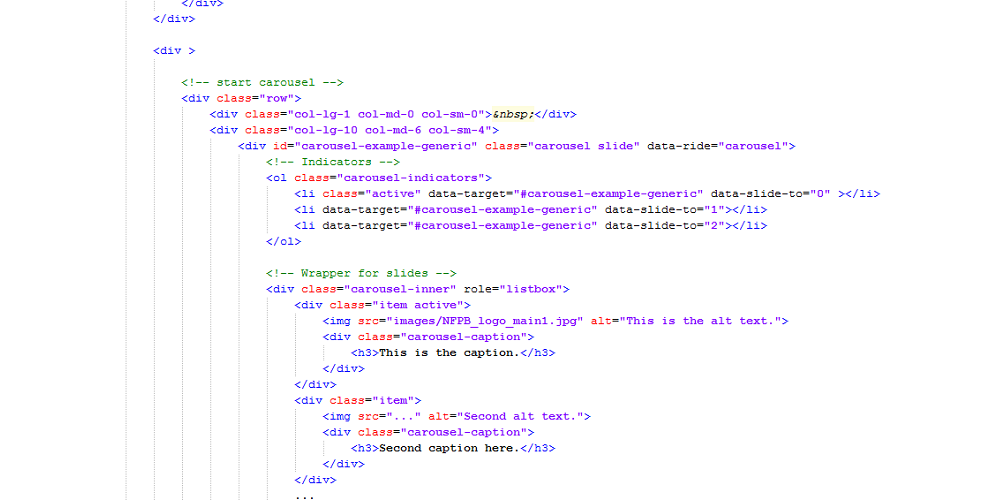 Image of html code.